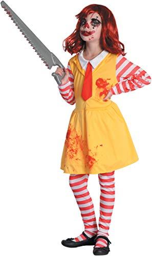 Horror clown meisje kostuum 5-7 annoni Geel/Rood