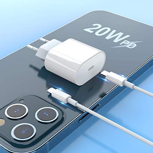 USB C Ladegerät 20W USB C Netzteil PD 3.0 USB C Power Adapter Ladestecker mit Ladekabel, 20W USB Type C Power Adapter kompatibel für Phone Pro Mini Max Air Pods Pad Pro