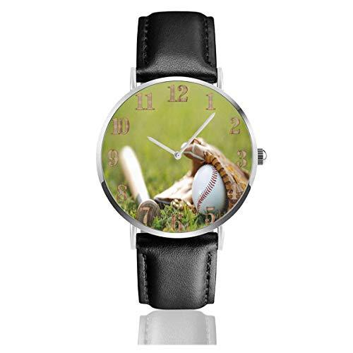 Baseballschläger auf Gras Clo Uhren Langlebige PU Leder Armbanduhr Life Silence Quartz Watch