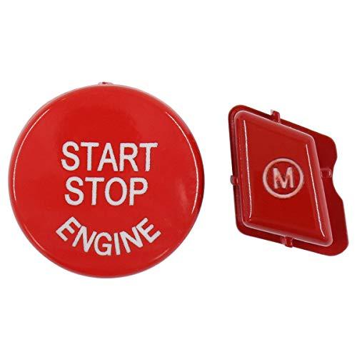 Auto Motorstart Stopp Taste Schalter Knopf Zündschalter Druckknopf und Lenkrad Tastenfeld M Modus Abdeckung Rot