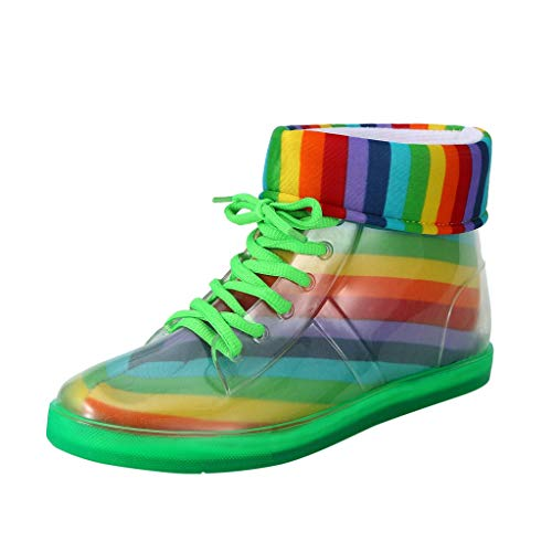 Maleya Stivali impermeabili da donna con stampa arcobaleno Ankle Boots impermeabili corti stivali invernali caldi in peluche stivaletti in PVC pioggia stivali stringhe casalinghe casual. 36 verde
