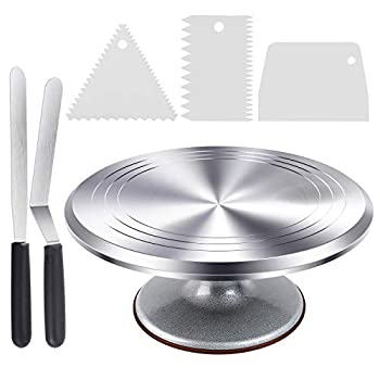 Cake Stand Ohuhu Cake Decorating Supplies Heavy Duty Aluminium12   Cake Turntable with 2 Icing Spatula and 3 Comb Icing Smoother Baking Cake Decorating kit Rotating Display Stand