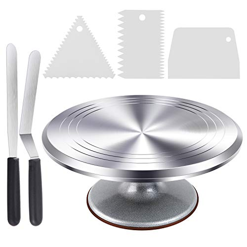 Cake Stand, Ohuhu Aluminium Revolving Cake Turntable 12'' Rotating Cake Decorating Stand with 2 Icing Spatula and Comb Icing Smoother, Baking Cake Decorating Supplies