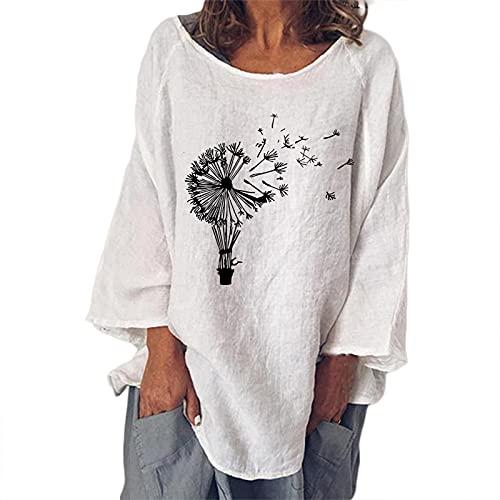 FOTBIMK Camiseta de manga larga con estampado de diente de león de algodón suelto de lino de color sólido cuello redondo, blanco, 4XL