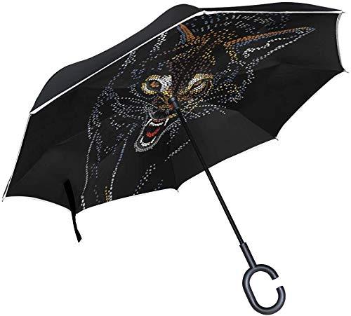 Paraguas de lluvia invertido, resistente al viento, impermeable, con gancho y asa en forma de C