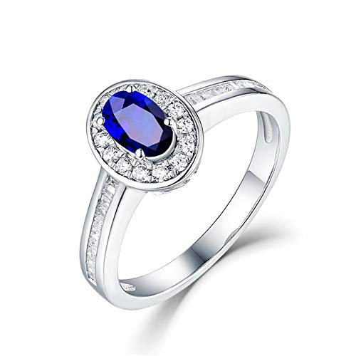 Adokiss Jewellery Wedding Ring 18 Carat Brilliant Halo with Blue Oval Sapphire 0.55/1ct Wedding Ring Women's Wedding Rings Women White Gold Birthday Gifts 1ct
