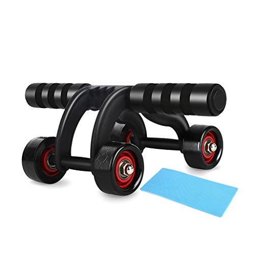Wp-wj Ab Roller Rad Fitnessausrüstung -Ab Rad Bauch Roller Bauchmuskeltraining Equipment - Ab Roller for Home Gym - Ab Maschine for Bauchtrainer -ABS Rolle mit Knieschoner (Color : Black)