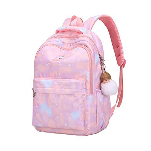 Nenka Grazioso zaino da bambina in nylon per la scuola elementare, con stampa colorata, rosa, Lilla, A