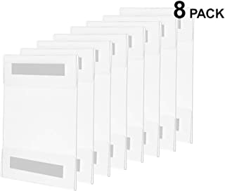"""Wall Mount Sign Holder Clear Acrylic with Adhesive (8 Pack) and Microfiber Cleaning Cloth - 8.5"""" X 11"""" - Crack & Scratch Resistant"""