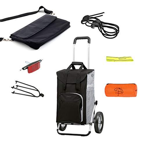 Andersen Einkaufstrolley Royal mit Einkaufstasche Dante schwarz 45 Liter, Regencape, Spanngurt und Fahrrad-Anhängerkupplung, extra Laptoptasche