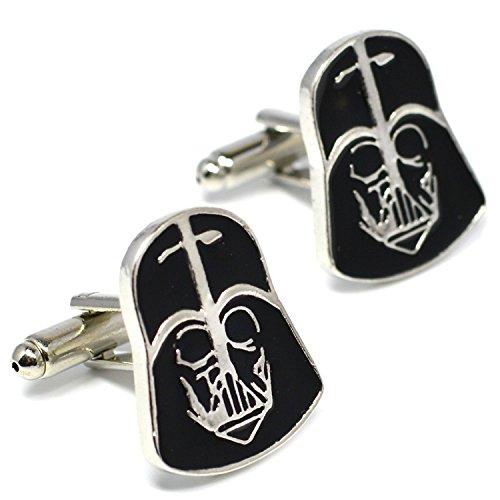Beaux Bijoux Darth Vader Masque Boutons Manchette - Star Wars Nouveauté Accessoires en Spéciale Velours Boîte