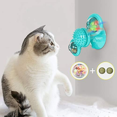 Ossky Jouets pour Chats, Jouet pour Moulin à Vent pour Chat Drôle, Jouet Interactif pour Chat avec l'herbe à Chat et Boules