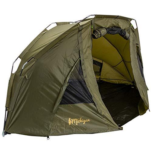 Michigan 1-2 Man Bivvy Brolly Shelter, Carp Fishing Overnight Waterproof Tent with Pegs & Detachable Groundsheet