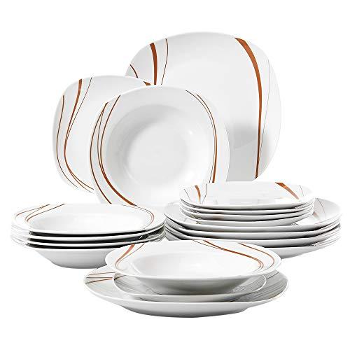 VEWEET Tafelservice \'Bonnie\' aus Porzellan 18 teilig | Tellerset für 6 Personen | Mit je 6 Dessertteller, Tiefteller und Flachteller
