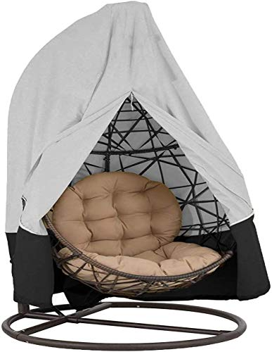 Patio Hanging Chair Cover Garden Cocoon Egg Chair Cover 420D Oxford Fabric Waterproof Swing Egg Chair Covers with Zipper Drawstring Double 232x203cm Grey&Black