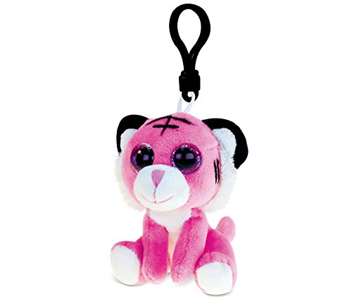 DolliBu Pink Tiger Plush Big Eyes Keychain Stuffed Animal - Soft Wild Animal Charm with Sparkling Big Eyes, Decorative Zoo Plush Toy Accessory & Fun Buddy Clip for Kids Keys, Purse, Backpack, Bags