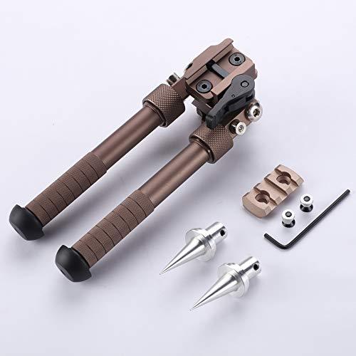 SAWKE Keymod Bipod for Rifles - 6.5-9 Inch Tactical Rifle Bipod Adjustable,CNC QD Lever Mount,360 Degree Swivel Adapter with Bipod Spikes and Keymod Picatinny Rail Mount (Brown)