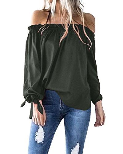ACHIOOWA Langarmshirt Schulterfrei Tunika Damen Elegant Hemd Oversize Tops Oberteil Armee grün-814413 L