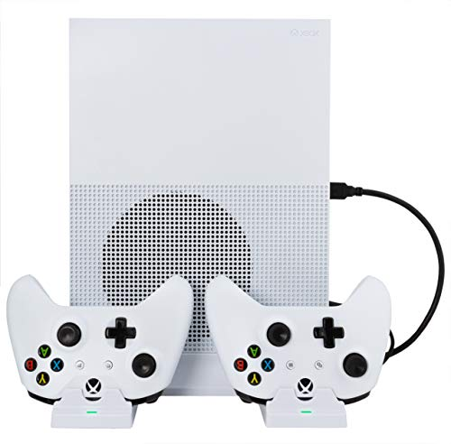 YoK Cool and Charge Vertical Cooling Stand for Xbox One Built In Cooling Fan With Dual Controller Charging Station - Compatible With Xbox One S