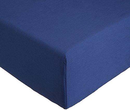 Amazon Basics Everyday - Sábana bajera ajustable (100% algodón) Azul marino - 90 x 190 x 30 cm