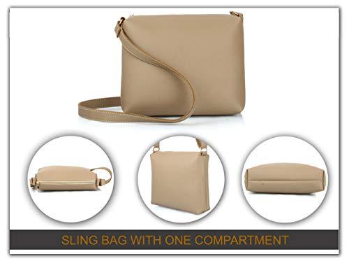 Mammon Women's Beige PU Leather Handbag Combo (set of 4)