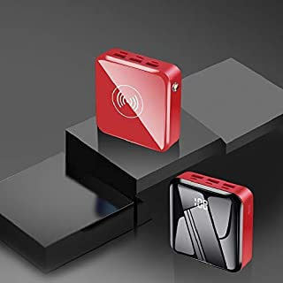 High quality power bank power bank 30000mAh portable wireless charger battery charging LED lighting digital display built-in wireless mobile power supply (Color : Red)