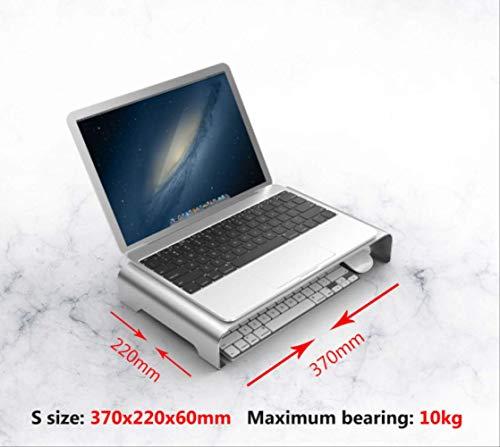 DAJUZI Supporto per Notebook con Supporto per Laptop in Lega di Alluminio per MacBook Air PRO 11 12 13 15 HP Retina iMac Supporto per Monitor per Computerlapdesk Dimensioni S 37x22x6cm