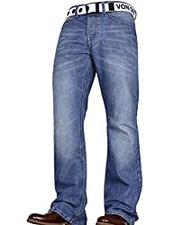 New mens Boocut jeans by Von Denim made with a wide fitting leg Two great colours to choose from, special washing techniques used to give a unique finish Button fly closure, with an additional free branded belt included for extra styling Two front de...