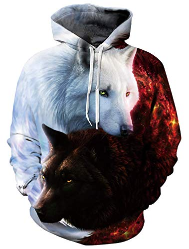 ALISISTER Herren Damen Hoodie Lustig 3D Galaxis Wolf Druck Kapuzenpullover Sweatshirt Teens Jungen Mädchen Langarm Taschen Pullover Kapuzenpullis mit Fleece-Futter L