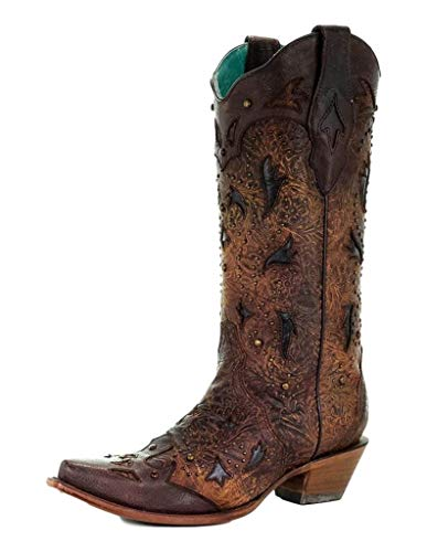 Corral Women's Studded Embossed Cowgirl Boot Snip Toe Brown 10 M US