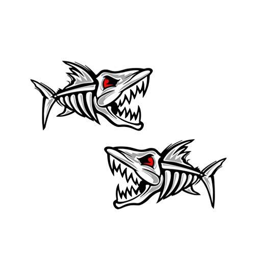 2Pcs Fishing Car Decals Tackle Box Bonefish Stickers Fish Skull Sticker Skeleton Piranha Fish Decals for Canoe 5'x2.8'