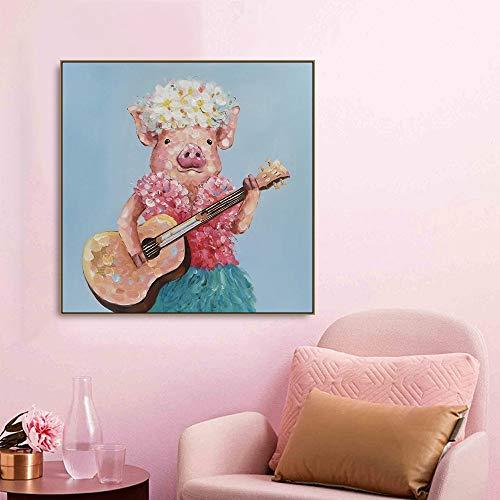 zgwxp77 Chitarra Maiale Animale Pittura su Tela Poster e Stampe Soggiorno Decorazione della Parete di casa Artista Decorazione della casa pittura40x40cm Senza Cornice