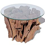 vidaXL Solid Teak Driftwood Coffee Table Glass Tabletop Living Room Side Tea Stand