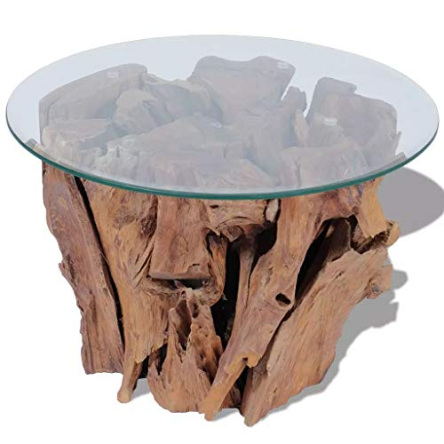 vidaXL Massivholz Couchtisch 60 cm Beistelltisch Kaffeetisch Teak Treibholz