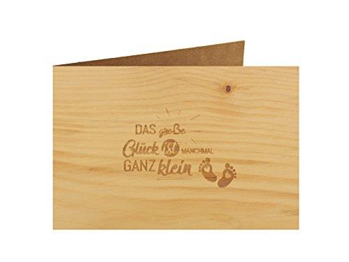 Holzgrußkarte - Taufe, Baby, Geburt - 100% handmade in Österreich - Postkarte Glückwunschkarte Geschenkkarte Grußkarte Klappkarte Karte Einladung, Motiv:GROSSES GLÜCK GANZ KLEIN