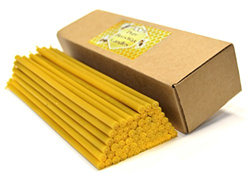 Natural Pure Beeswax Candles Organic Honey Eco Candles in Gift Box (Natural Cotton Wicks, Dripless, Smokeless, Not Taper, Not Ear Candles) (Yellow, 8 Inches (20 cm) 60pcs)