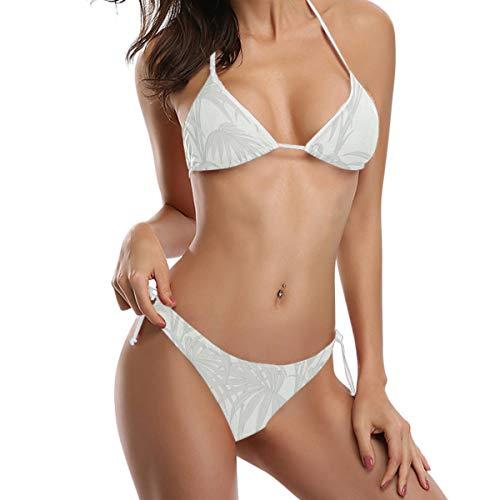 FAJRO Damen Bikini-Set mit Handflächenmuster, Push-up-Bikini, cremefarben Gr. S, 1