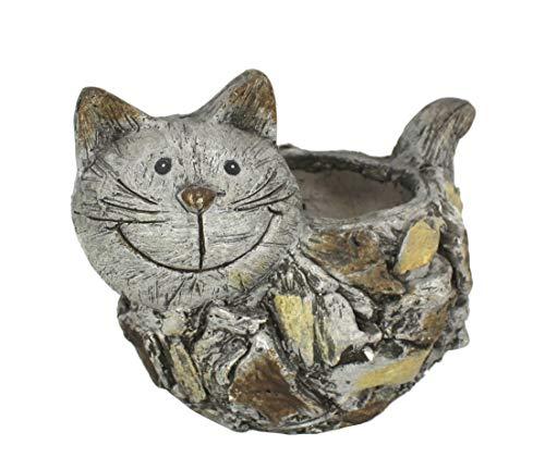 DARO DEKO Tier Figur in Stein-Optik Katze mit Pflanz-Topf 32 x 24cm