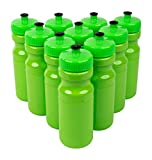 CSBD 24 Oz Sports Water Bottles, 10 Pack, Blank for Customized Branding, No BPA Food Grade Plastic for Fitness, Hiking, Cycling, or Gym Workouts, Made in USA (Bright Lime, 10 Pack)