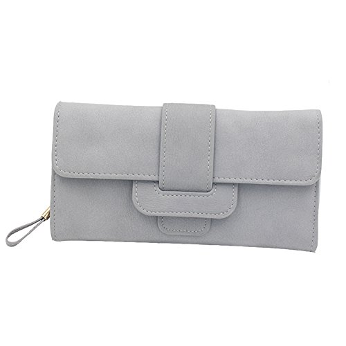 Woky Elegant Lang PU Leder Portemonnaie Frauen Große Kapazität Geldbörsen Damen Geldbeutel Brieftasche Portmonee mit Reißverschluss & Druckknopf