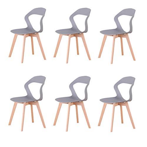 N A set di 6 moderne sedie in plastica in stile nordico in una varietà di colori per l uso in salotti, sale da pranzo, uffici, sale riunioni e sale da pranzo (grigio-6)