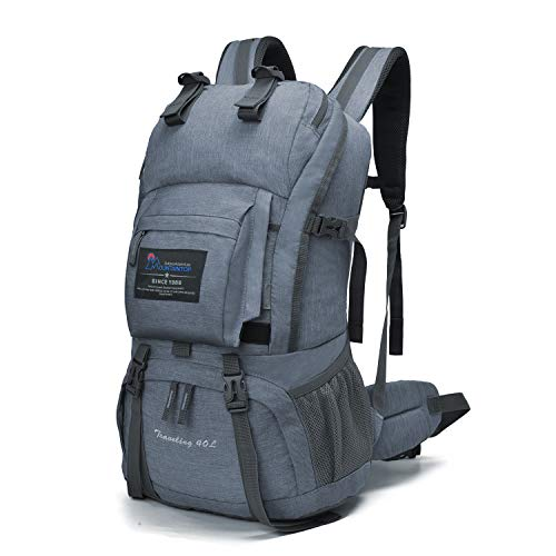 Mountaintop 40 Liter Hiking Backpack with Rain Cover for Outdoor Camping (Slate gray)