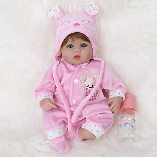 ENA Reborn Baby Doll Realistic Silicone Vinyl Pink Mouse Baby 16 inch Weighted Soft Body Lifelike Doll Gift Set for Ages 3+(Pink Mouse)
