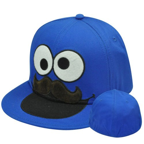 Bioworld Sesame Street Mustache Cookie Monster Fitted Flat-Bill Hat