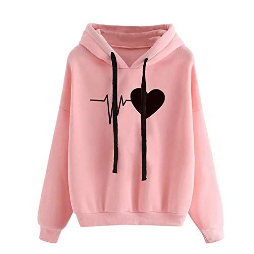 Kobay-Damen Herbst Winter Valentinstag Liebe Print Sweatshirt Lässig Loose Hooded Langarm Crop Patchwork Bluse Pullover Frühling Tops