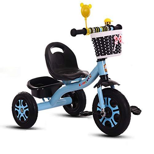 SSLC Kombikinderwagen Dreirad Kinder Flüsterleise Gummireifen ab 18 Monate bis 5 Jahre Belastbarkeit bis 30 kg(Blau)