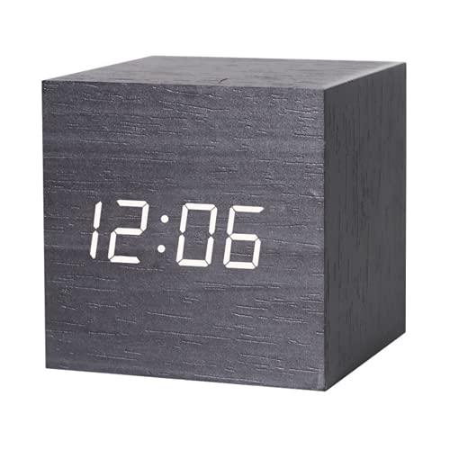 QYYL Despertador de Madera, Despertador Cubo Digital LED de Escritorio con Pantalla De Hora/Fecha/Temperatura, 3 Juegos De Alarmas, Carga USB, para decoración de Oficina y Dormitorio (Black/4)
