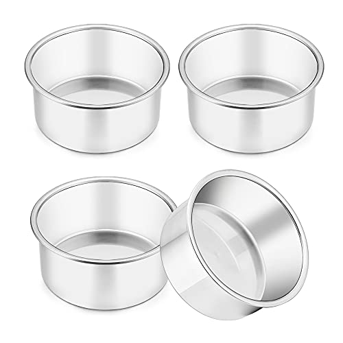 TeamFar 4 Inch Cake Pan, 4 Pcs Mini Cake Pan Round Tier Baking Cake Pans Set Stainless Steel, For Baking Steaming Serving, Healthy & Sturdy, Mirror Finish & Dishwasher Safe