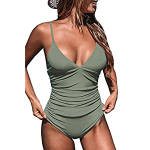 CUPSHE Women's One Piece Swimsuit Tummy Control V Neck Two Piece Bathing Suits