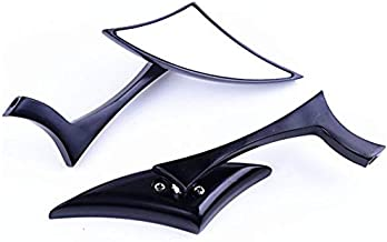 XYZCTEM Modern Stylish Custom Black Side Review Mirrors for Motorcycle, Street Bike, Naked Bike, Cruiser, Chopper(8mm and 10mm adapters)-Pair